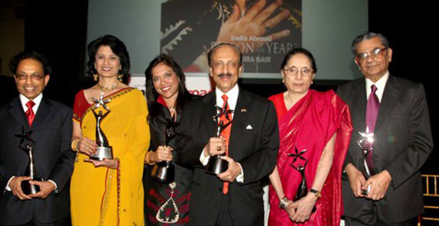 WINNERS ALL: Dr. Navin Shah, Renu Khator, Mira Nair, Joy Cherian, Padma Desai, Jagdish Bhagwati. PHOTO: Jay Mandal/On Assignment (more below).