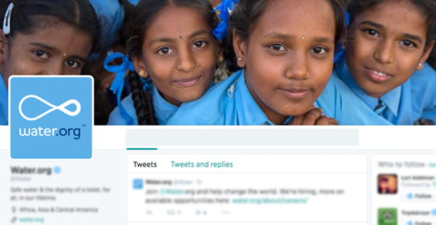 Screenshot of twitter avatar and cover photo of the Water Foundation.
