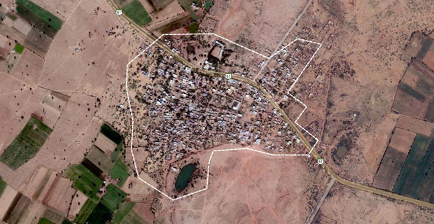 Google Maps satellite view of village Lordiyan, which was renamed America.