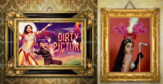 Montage by Jyoti Gupta Images of Vidya Balan (left) and Silk Smitha (right) sourced from Daily Fun, NDTV slideshow ©PTI.  Frames Source: Deposit Photos)